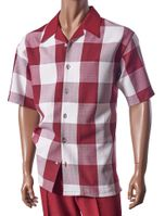 Giorgio Inserti Inserch Mens Burgundy Square Plaid Leisure Outfit 733