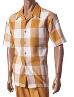 Giorgio Inserti Inserch Mens Mustard Square Plaid Leisure Outfit 733
