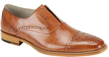 Giovanni Mens Tan Lace Less CapToe Style Dress Shoes Irwin
