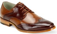 Giovanni Two Tone Cognac/Tan Fashion Lace Up Wingtip Dress Shoe Bentley