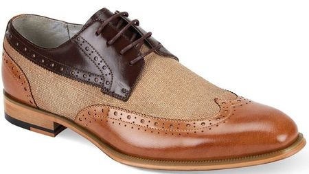 Giovanni Mens Tan/Chocolate Leather and Linen WingTip Hunter