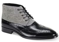 Giovanni Mens Black Wingtip Tweed and Leather Dress Boots Griffin