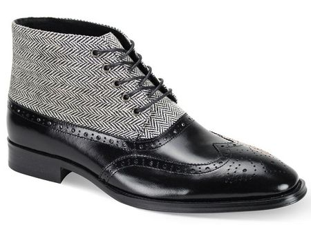 Giovanni Mens Black Wingtip Tweed and Leather Dress Boots Griffin Size 13 Final Sale