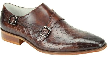 Giovanni Brown Monk Strap Diamond Pattern Designer Dress Shoes Jasper