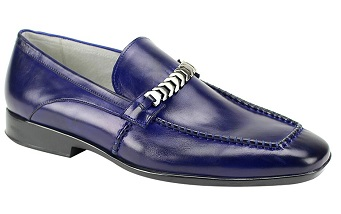 Giovanni Shoes Mens Chain Link Blue Slip On Loafer Cruz