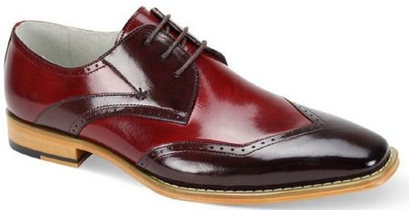 Giovanni Mens Burgundy/Red Leather Modified Wing Tip Florence - click to enlarge