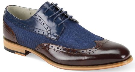 Giovanni Mens Chocolate/Navy Leather and Linen WingTip Hunter