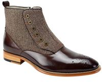 Giovanni Designer Brown Spat Style Tweed  Dress Boot Edison hmt