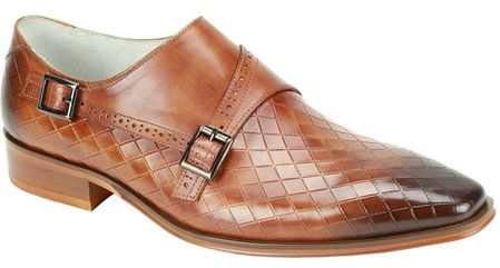 Giovanni Tan Monk Strap Diamond Pattern Designer Dress Shoes Jasper