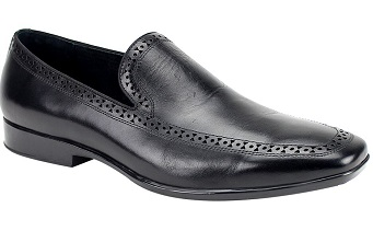 Giovanni Mens Detailed Trim Designer Black Loafer Derby
