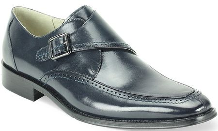 Giovanni Mens Navy Leather Strap Dress Shoes Amato
