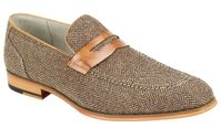 Giovanni Mens Tan Tweed Loafer Dress Shoes Ike