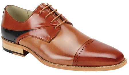 Giovanni Mens Whiskey Tan Navy Cap Toe Fashion Dress Shoes Hudson