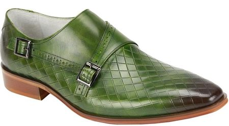Giovanni Mens Green Monk Strap Diamond Pattern Designer Dress Shoes Jasper