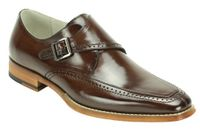 Giovanni Mens Chocolate Brown Leather Strap Dress Shoes Amato