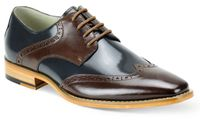 Giovanni Mens Brown/Navy Leather Lace Up Wingtip Dress Shoes Bentley