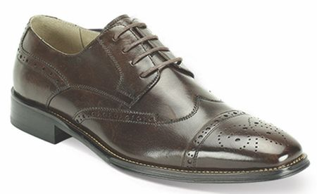 Giovanni Mens Chocolate Polished Leather Wing Cap Dress Shoes 6502