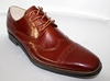 Giovanni Mens Cognac Polished Leather Wing Cap Dress Shoes 6502