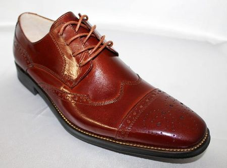 Giovanni Mens Cognac Polished Leather Wing Cap Dress Shoes 6502 - click to enlarge
