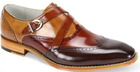 Giovanni Mens Chocolate Brown/Cognac/Tan Leather Fancy Buckle Shoes Felix - click to enlarge
