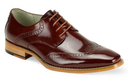 Giovanni Mens Cognac Wingtip Leather Dress Shoes Bentley - click to enlarge