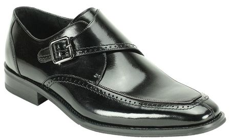 Giovanni Mens Shiny Leather Black Monk Strap Dress Shoes Amato - click to enlarge