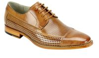 Giovanni Mens Leather CapToe Perforated Tan Fashion Dress Shoes Diego