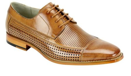 Giovanni Mens Leather CapToe Perforated Tan Fashion Dress Shoes Diego - click to enlarge