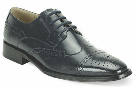 Giovanni Mens Navy Polished Leather Wing Cap Dress Shoes 6502 - click to enlarge