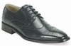 Giovanni Mens Navy Polished Leather Wing Cap Dress Shoes 6502