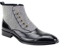 Giovanni Mens Black Leather and Tweed Button Up Dress Boots Edison