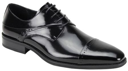 Giovanni Mens Black Polished Leather Cap Toe Dress Shoes Hudson