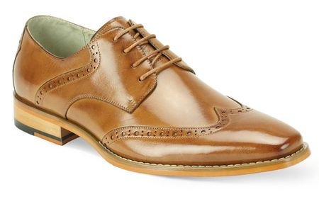 Giovanni Mens Tan Wingtip Leather Dress Shoes Bentley - click to enlarge
