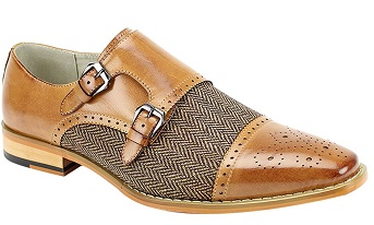 Giovanni Tan Double Side Buckle Dress Shoe Eliot