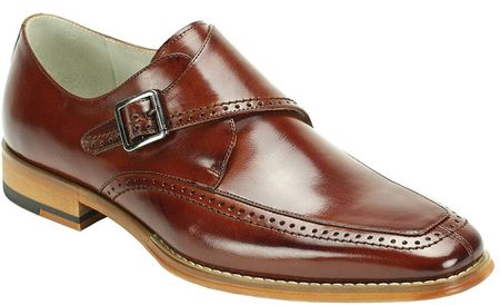 Giovanni Mens Shiny Cognac Monk Strap Leather Dress Shoes Amato