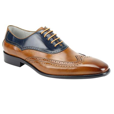 Giovanni Tan/Navy Two Tone Modified Wingtips Cyprus - click to enlarge