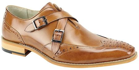 Giovanni Unique Cross Over Strap Tan Dress Shoes Emilio - click to enlarge