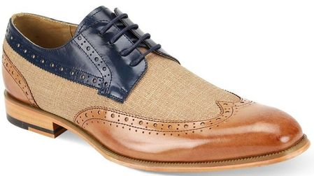 Giovanni Mens Tan/Navy Leather and Linen WingTip Hunter - click to enlarge