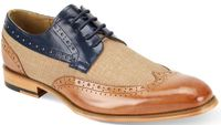 Giovanni Mens Tan/Navy Leather and Linen WingTip Hunter