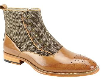 Giovanni Unique Designer Spat  Tweed Boots Tan Edison
