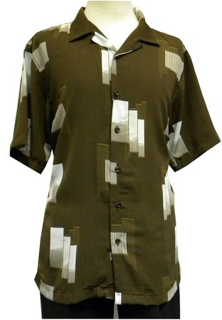 Gochu Men's Brown Patterned Short Sleeve Casual Shirt 2005 Size L, XL - click to enlarge