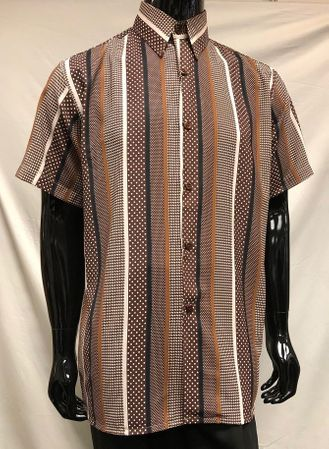 Men's Brown Verticle Pattern Short Sleeve Casual Shirt Pronti S6480