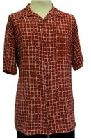 Pronti Men's Red Square Pattern Crepe Short Sleeve Casual Shirt 6176