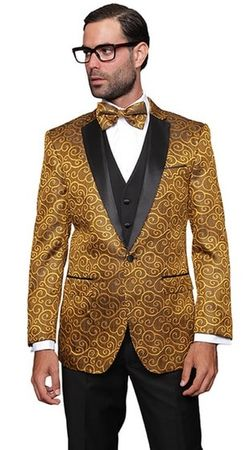 Gold Paisley Sequin Stage Performer Suit Paisley-200 3pc - click to enlarge