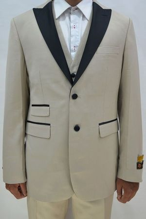 Tan Color Tuxedo Mens 3 Piece Modern Fit Alberto Stage - click to enlarge