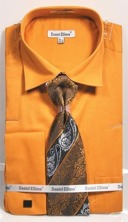 Gold Spread Collar Shirt With Ties French Cuffs (100% Cotton) DE DS3798P2