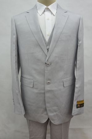 Gray Linen Suit Men's Summer 3 Piece Alberto Linen-2BV