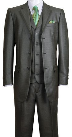 Milano Fortini Men's Olive Sharkskin 3 Pc. Fashion Suit 5909V Size 42R Final Sale