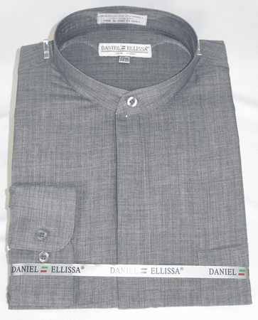 Gray Mandarin Collar Shirt for Men Daniel Ellissa DS3115C