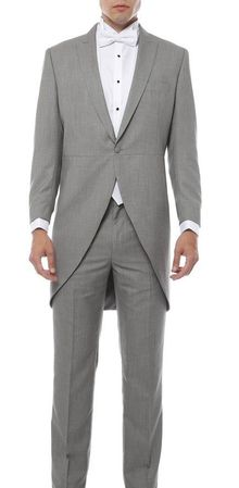 Gray Morning Wedding Suit for Men with Tails Ferrecci Cutaway